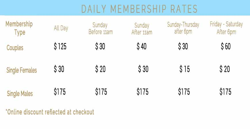 Caliente Resorts Daily Pricing Grid 2021